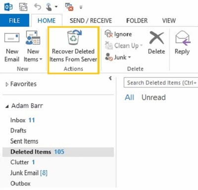 Recover Outlook delete items from the server