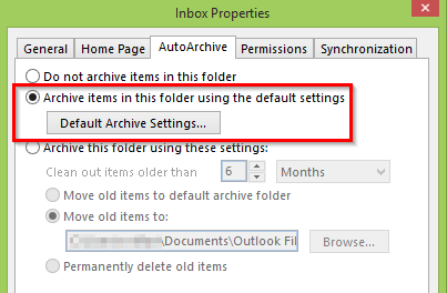 Auto Archive items with default settings