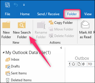 Locate New Search Folder in Outlook