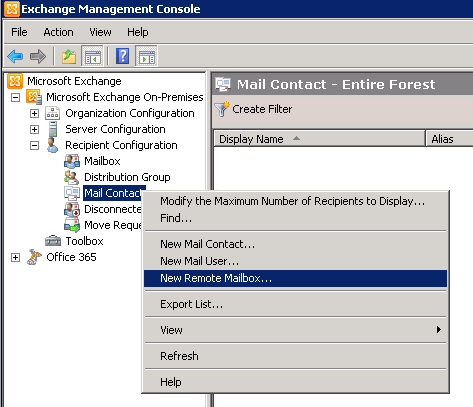 Open new mailbox in the exchange management console