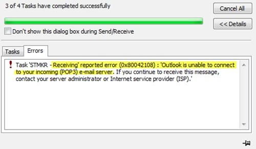 outlook sending reported error 0x80042108