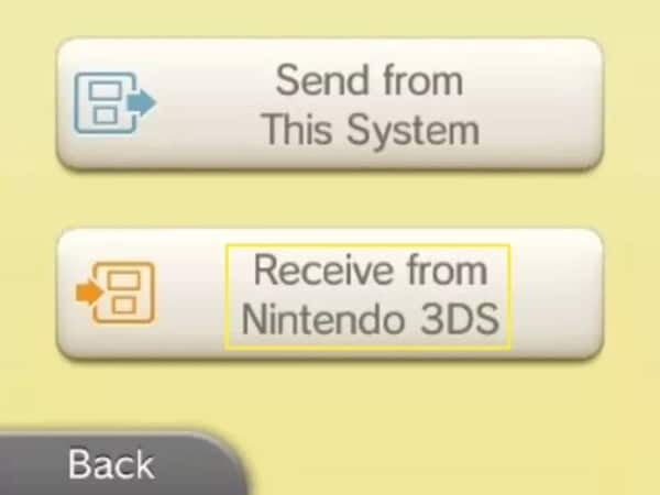 select receive from nintendo 3ds option