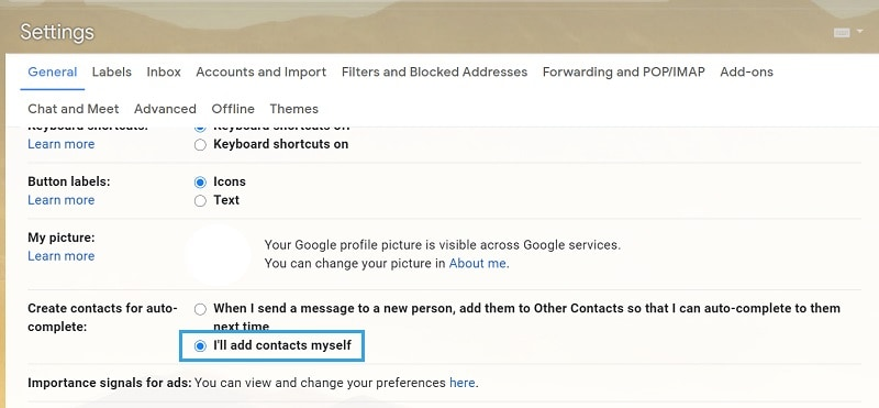Gmail Settings Auto-complete Contacts