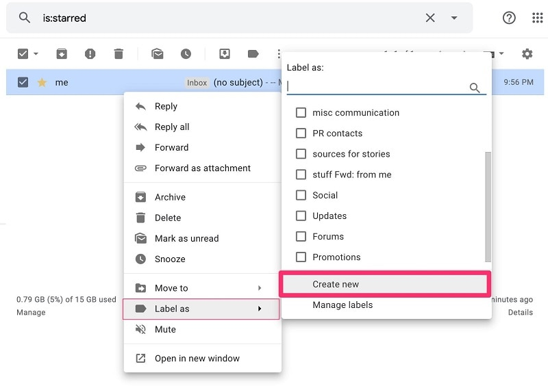 Gmail Create New Label