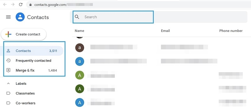 Find Google Contacts