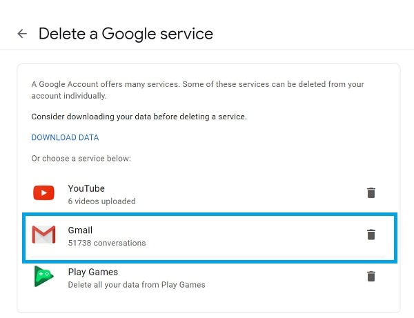 Delete a Gmail Account
