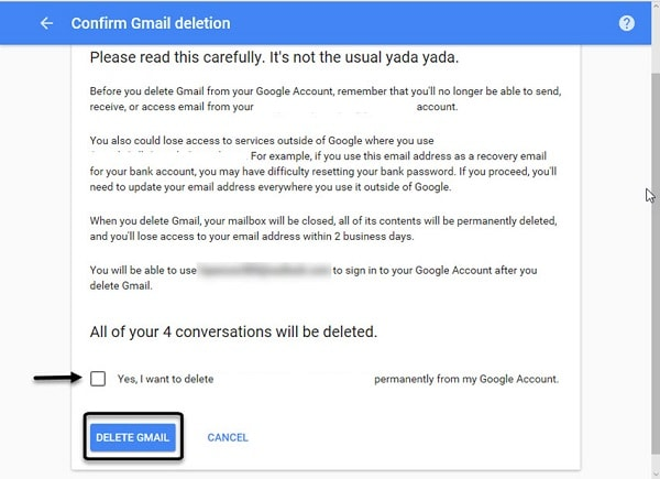 Confirm Gmail Deletion