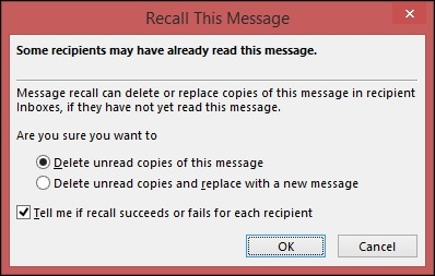 Outlook Recall Message Options