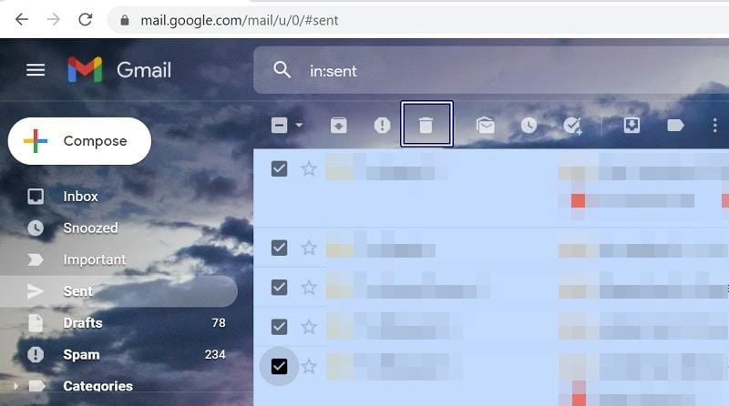 Gmail Delete Sent Mails