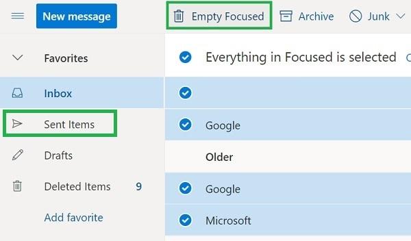 Outlook Delete Sent Items