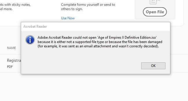 Cannot open PDF