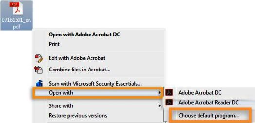 Choose Adobe Acrobat Reader as default program