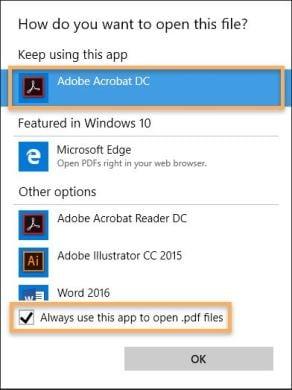 Adobe Acrobat Reader as default program