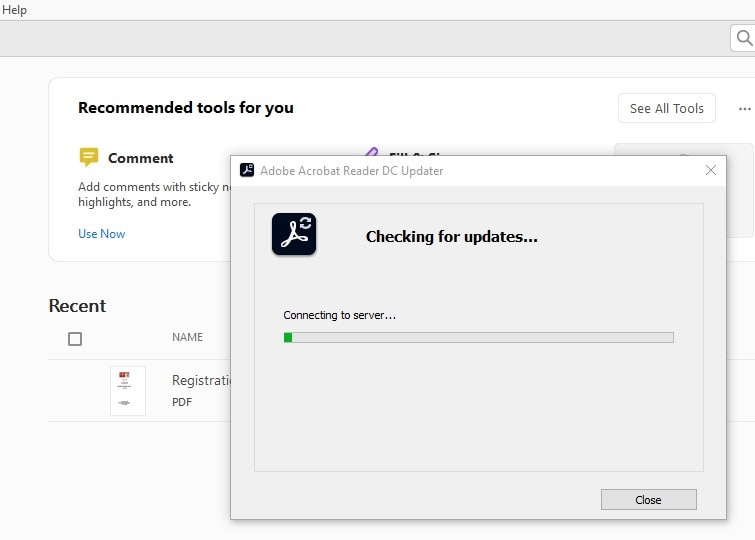 Check for Adobe updates
