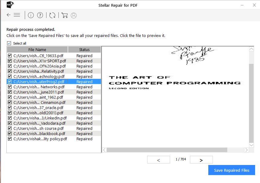 Saving Repaired PDF files in Stellar