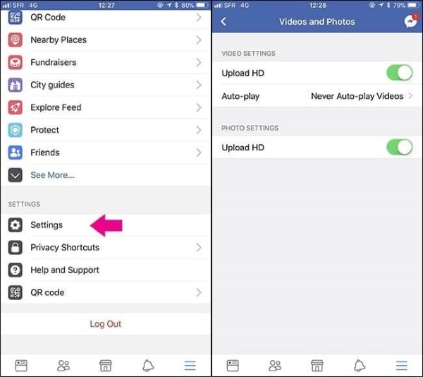 enable the hd settings of iphone