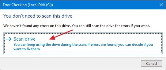 clicking scan drive option for recovering files