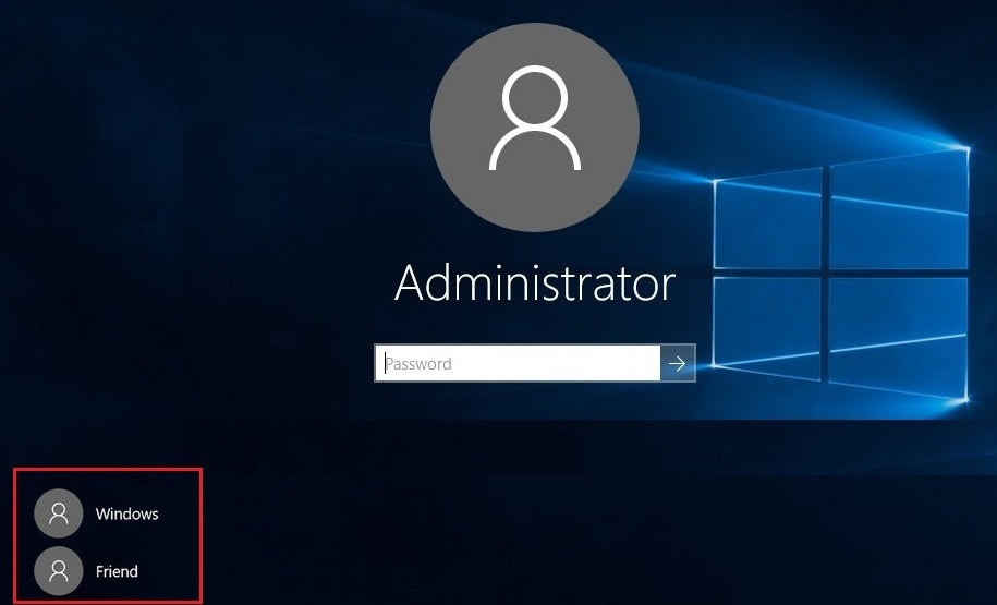 switching to old user account in windows 10