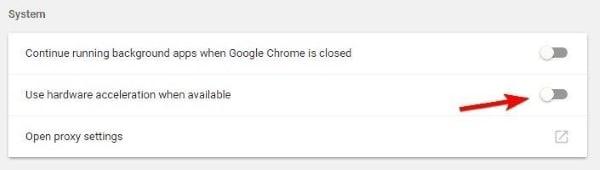 disable google chrome hardware acceleration