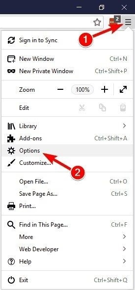tap on firefox options