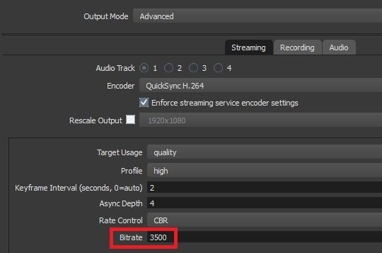 reduce the bitrate in obs