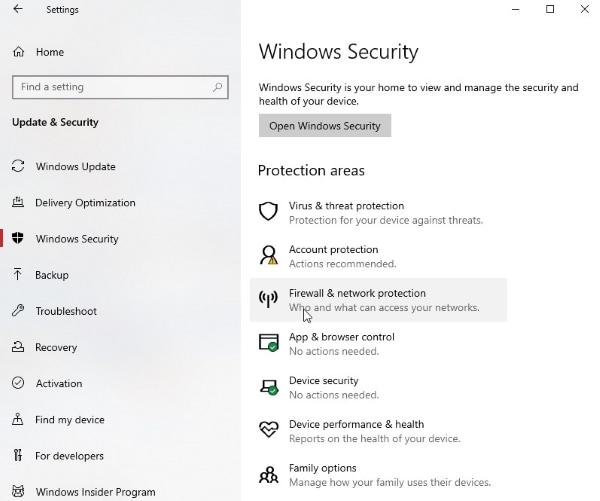 open firewall settings