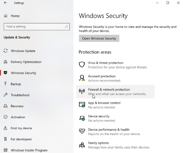 access firewall and network protection settings