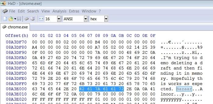 HxD Find Chrome Data