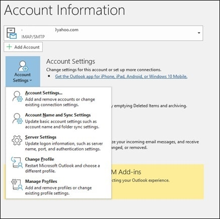 Outlook Account Syncing