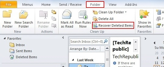 Outlook 2010 Recover Deleted Items