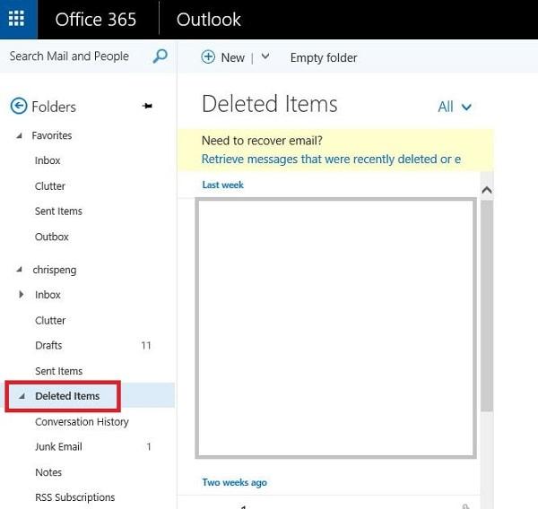 Outlook Deleted Items Folder