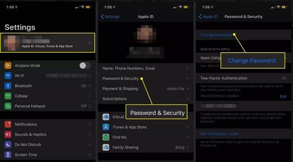 Change iCloud Password on iPhone