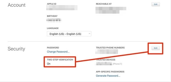 iCloud Two-factor Authentication
