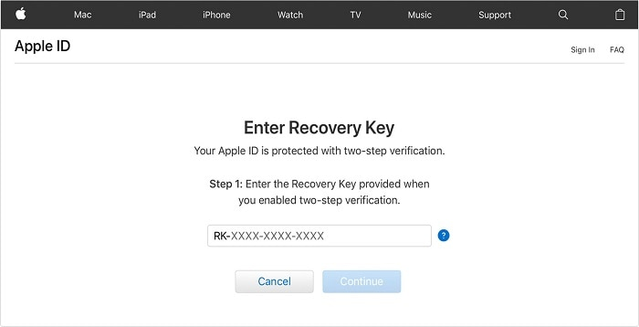 iCloud Enter Recovery Key