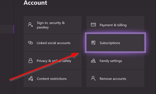 Xbox Manage Subscriptions