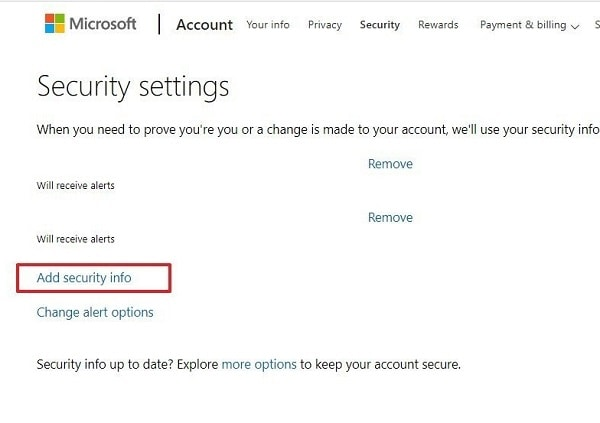 Live Account Security Settings