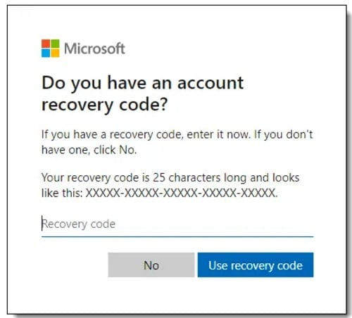 Live Recovery Code Submission