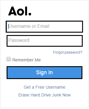 Sign-in page of AOL email account