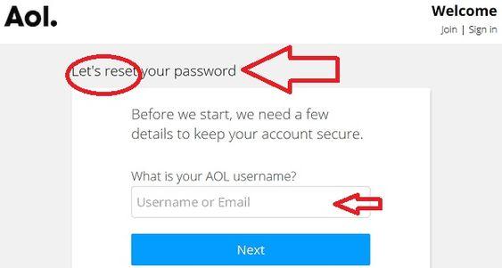 Process to reset AOL password