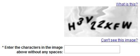 enter captcha in the given space