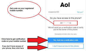 Enter registered phone number to reset AOL password