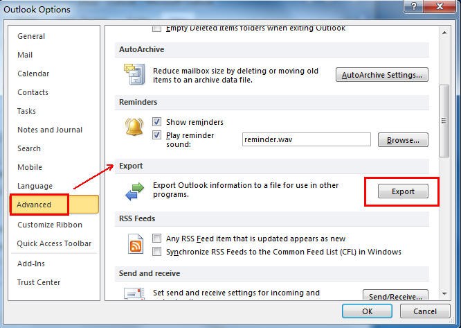 Select advance options in Outlook