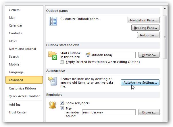 Select autoarchive settings