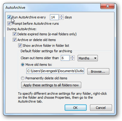change autoarchive settings in Outlook