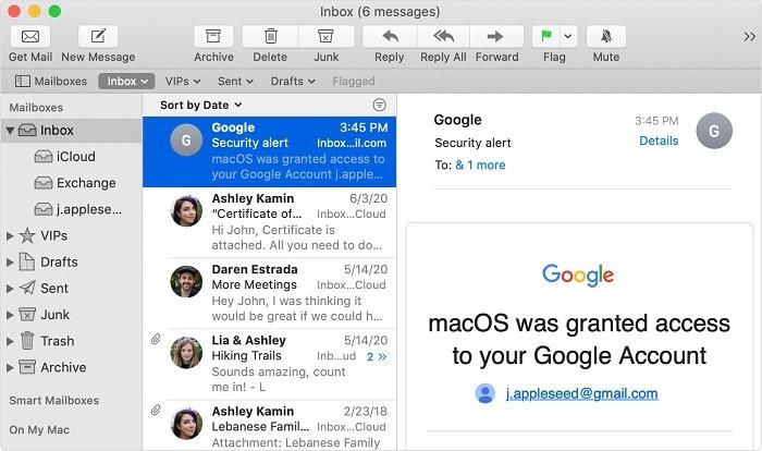 Mac Mail Interface