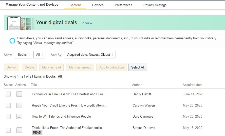 Manage your content and devices on Amazon