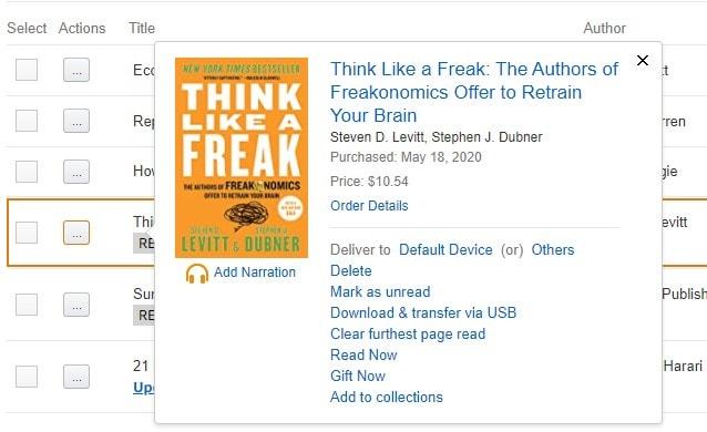 Download and transfer Kindle book via USB