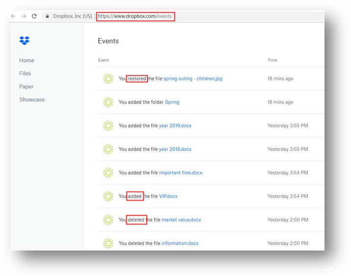 selecting deleted files on events page in dropbox