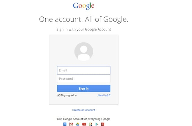 Open Google Sign-in page