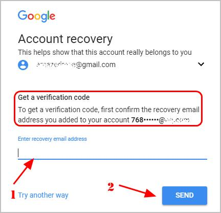 Enter recovery email on Google account